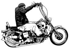 Rider On Chopper. Black and White Hand Drawn Illustration, Vector Royalty Free Stock Photography