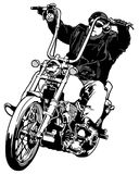 Rider On Chopper. Black and White Hand Drawn Illustration, Vector Royalty Free Stock Photo