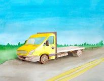 Rider den gula tomma flatbeden för vattenfärgen en påfyllning på asfaltvägen r royaltyfri illustrationer