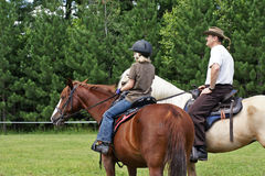 Rider discussing the trail Royalty Free Stock Photo