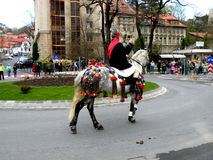 Rider in downtown Brasov Stock Photos