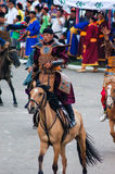 Rider dressed as warrior, Nadaam Opening Ceremony Stock Photo
