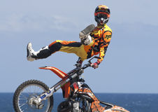 Rider El loco Miralles. FMX Freestyle Royalty Free Stock Photography