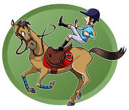 Rider falling from his horse. Funny cartoon-style illustration: a rider is unsaddled from his galloping horse. Green oval shape on the background Stock Photos