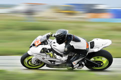 Rider fell on track in the Romanian Championship Motorcycle Speed Royalty Free Stock Photo