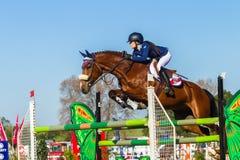 Rider Girl Horse Jumping Royaltyfri Fotografi