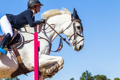 Rider Girl Horse Jumping Royalty Free Stock Images