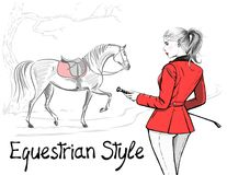 Beautiful fashion woman with english equestrian sport hunting style red jacket and horse with saddle. Rider girl and tree hand drawing. Vector art stylish lady Royalty Free Stock Photography