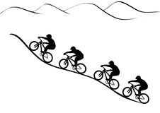 Rider group. Vector graphics illustration. Mountain bike riders riding up the hill royalty free illustration