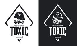 Rider in helmet and gas mask black and white isolated vector logo.  Royalty Free Stock Images