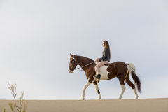 Rider And Her Horse femminile Fotografia Stock