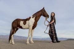 Rider And Her Horse femminile Immagini Stock Libere da Diritti
