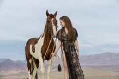 Rider And Her Horse femminile Fotografia Stock