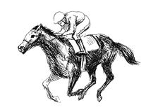 Rider with a horse. Hand drawing a rider with a horse Stock Image