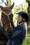 Rider and horse hugging Royalty Free Stock Photography