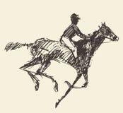Rider horse jockey retro style hand drawn sketch Royalty Free Stock Photo