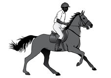 Rider on horse. Rider. Jockey riding a horse. Horse races. Competition. Silhouettes on a white background Royalty Free Stock Photography