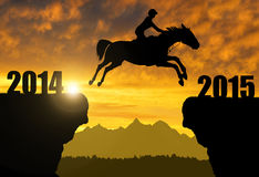 The rider on the horse. Jumping into the New Year 2015 Stock Images