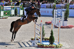 Rider on a horse jumps over the barriers Stock Images