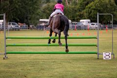 Rider And Horse Show Jumping in Ring Events royalty-vrije stock afbeeldingen