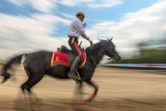 Rider on horseback in motion -  blurred Stock Image