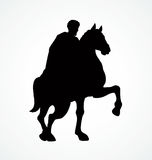 Rider on horseback. Vector drawing Stock Image