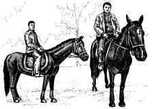 Rider. Image of two angles horse with a rider. Drawing on paper Stock Photos