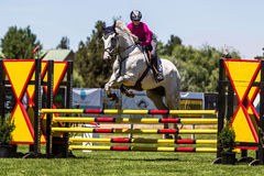 Rider Jumps Horse At Horse show Arkivbilder