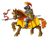Rider knight. Medieval knight on horseback, preparing for joust or fight, vector illustration Royalty Free Stock Photography