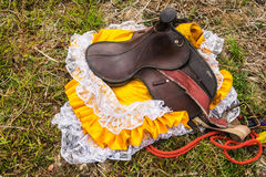 Rider Leather Saddles on ground in local. Rider Leather Saddles on ground in local,Thailand Royalty Free Stock Photos