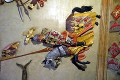 Rider medieval to sculpture on a ceiling Stock Photos