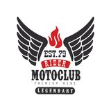 Rider motoclub logo, premium ride est 1979, design element for motor or biker club, motorcycle repair shop, print for. Clothing vector Illustration isolated on Stock Images