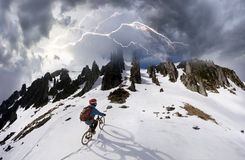 Rider on a mountain bike Stock Photography