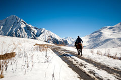 Rider in the mountains of Georgia Stock Image