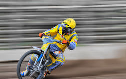 Rider participate at National Championship of Dirt Track. BRAILA, ROMANIA - May 31: Unidentified rider participate at National Championship of Dirt Track on May stock photography