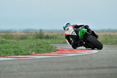 Rider participates in the Romanian Championship Motorcycle Speed Stock Photo