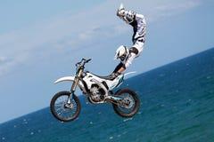 Rider Remi Bizouard. FMX Freestyle.Extreme Barcelona 2014 Stock Image