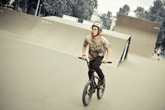 Rider riding on BMX Royalty Free Stock Photography
