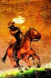 Rider`s gunfire stock illustration