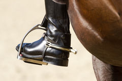 Rider's leg. Close up of jockey riding boot in the stirrup Royalty Free Stock Image