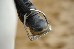 Rider's leg. In the stirrup Stock Images