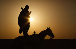 Rider in the Sahara Royalty Free Stock Photography