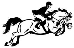 Rider show jumping. Horse rider black and white illustration Stock Photos