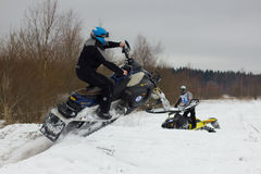 Rider on a snowmobile Royalty Free Stock Photo