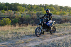 Rider on sport bike for enduro Royalty Free Stock Images