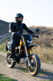 Rider on sport bike for enduro Stock Image