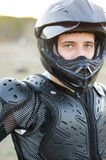 Rider on sport bike for enduro Royalty Free Stock Photo