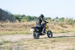 Rider on sport bike for enduro Royalty Free Stock Photos