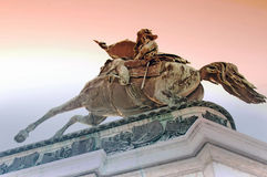Rider statue archduke Karl (Hero place). Rider statue archduke Karl of below in the winter Royalty Free Stock Photos