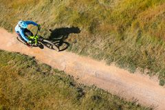 Free Rider Top View. Extreme Downhill Mountain Biking Royalty Free Stock Images - 124357859
